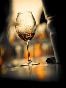 USA, Washington State, Seattle. Wine glass reflecting light by Richard Duval
