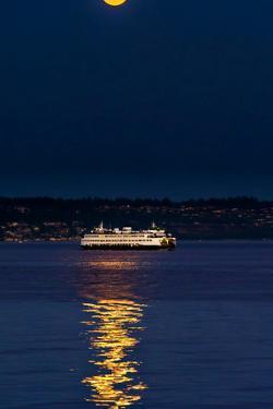 Washington, Kingston. the Super Moon Illuminates the Kingston Ferry by Richard Duval