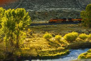 Washington, Yakima. a Train Runs Through the Yakima River Canyon by Richard Duval