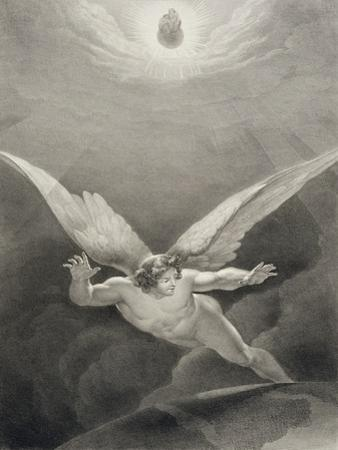 Satan Leaps over the Walls of Heaven, from a French Edition of 'Paradise Lost' by John Milton