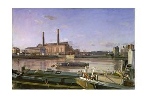 Lots Road and Barges, 1988 by Richard Foster