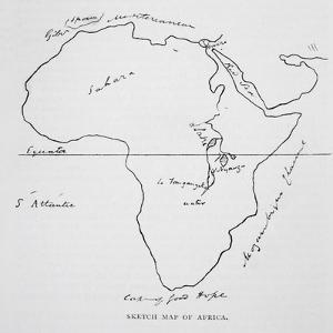 Sketch Map of Africa, from 'The Life of Captain Sir Richard Burton, Volume II' by Isabel Burton… by Richard Francis Burton