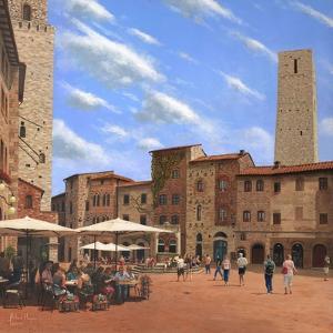 Piazza Della Cisterna San Gimignano Tuscany by Richard Harpum