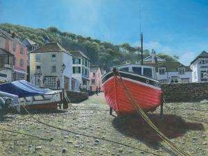 The Red Boat Polperro Cornwall by Richard Harpum