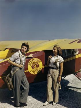 Student Pilots Wearing Parachutes Stand Beside Stephens College Plane by Richard Hewitt Stewart