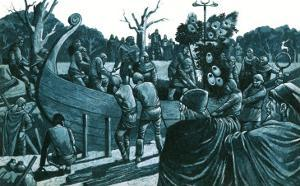 Artist's Impression of the Anglo-Saxon Ship-Burial at Sutton Hoo by Richard Hook