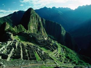 Ancient Ruins on Hillside, Machu Picchu, Cuzco, Peru by Richard I'Anson