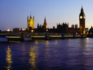 Big Ben, Houses of Parliament and River Thames at Dusk, London, England by Richard I'Anson