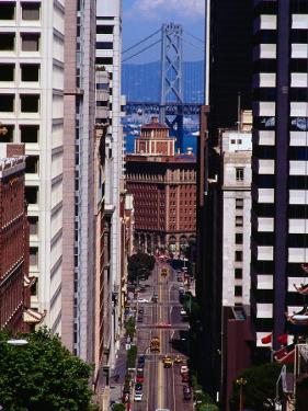 California Street with Bay Bridge in Distance, San Francisco, California, USA by Richard I'Anson