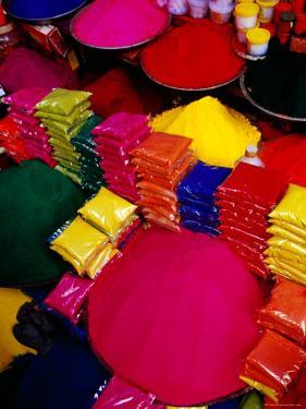 Coloured Powders for Sale at Gulmandi Road Bazaar, Aurangabad, Maharashtra, India by Richard I'Anson