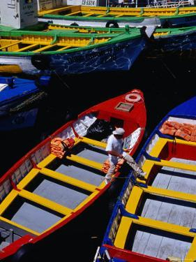 Colourful Boat in Harbour, Valparaiso, Chile by Richard I'Anson