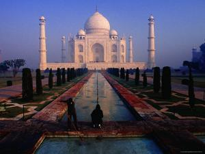 Groundsman Cleaning Watercourse at Taj Mahal by Richard I'Anson