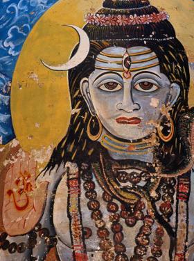 Hindu Mural on Dr. Rajendraprsad Ghat, Varanasi, Uttar Pradesh, India by Richard I'Anson