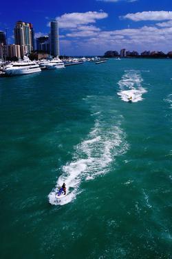 Jet Skis on Biscayne Bay near Miami Beach Marina. by Richard I'Anson