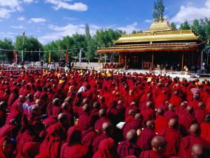 Monks and Nuns at Dalai Lama Sermon, Choglamsar, Ladakh, India by Richard I'Anson