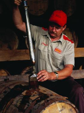 Taking Sample from Whisky Barrel at Makers Mark Distillery, Bardstown, United States of America by Richard I'Anson