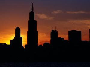 The Sears Tower and Skyline at Sunset, Chicago, USA by Richard I'Anson