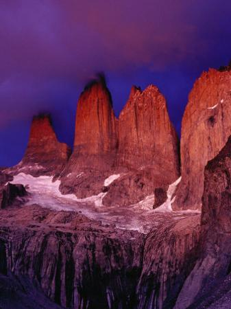 The Torres Del Paine (Towers of Paine) in Moonlight, Patagonia,Chile by Richard I'Anson