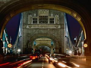 Traffic on Tower Bridge at Night, London, England by Richard I'Anson