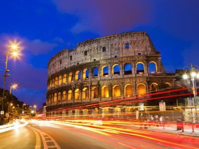 Colosseum and Traffic on Via Del Fori Imperiali