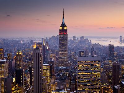 Empire State Building from Rockefeller Center at Dusk