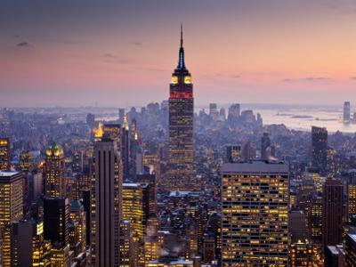 Empire State Building from Rockefeller Center at Dusk by Richard l'Anson