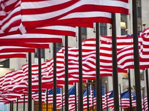 Flags in Rockefeller Square by Richard l'Anson