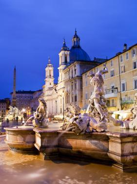 Fontana Del Nettuno (Neptune Fountain) and Church of Sant'Agnese in Agone at Piazza Navona by Richard l'Anson