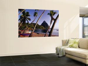Palm Trees and Fishing Boats on Soufriere Beach with One of the Pitons in the Background by Richard l'Anson