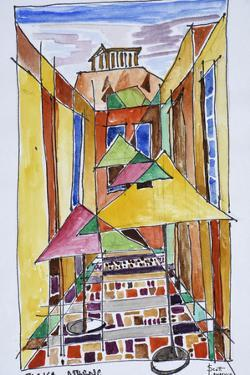 A cubist style watercolor of the Plaka, Athens, Greece by Richard Lawrence
