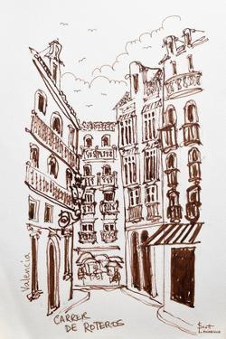 A street scene of Valencia, Spain with a perspective view of part of the beautiful old city. by Richard Lawrence