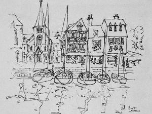 Boats rest in the port at Honfleur, Normandy, France by Richard Lawrence