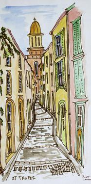 Buildings crowd the narrow streets, Saint-Tropez, French Riviera, France by Richard Lawrence