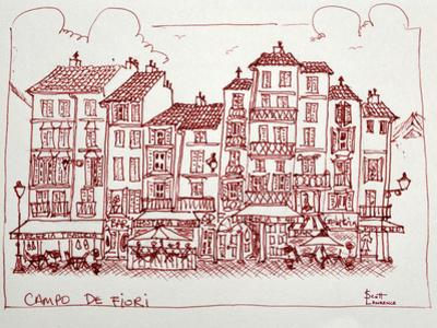 Campo De Fiori is one of the great squares of Rome, Italy. Campo De Fiori is surrounded by restaura by Richard Lawrence