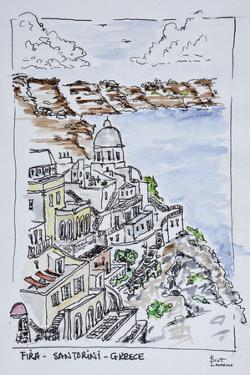 Cliffside town of Fira, Island of Santorini, Greece by Richard Lawrence