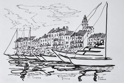 Moored boats in the harbor, Saint-Tropez, French Riviera, France by Richard Lawrence