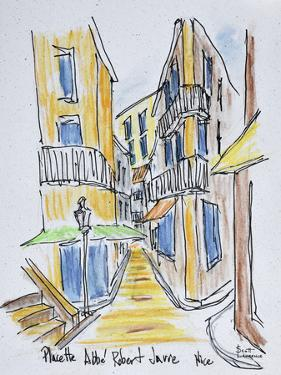 Narrow streets along Placette Abbe Robert Jarred, Old Nice, Nice, France by Richard Lawrence
