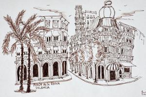 Placa de la Reina in old town, Valencia, Spain by Richard Lawrence