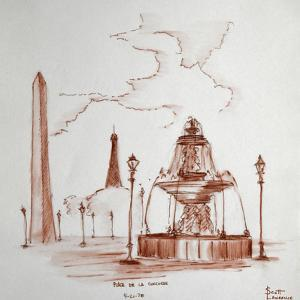 Place de la Concorde in Paris, France has one of the largest obelisks from ancient Egypt at its cen by Richard Lawrence