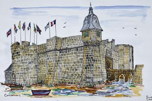 Ramparts and main gate of Concarneau, Brittany, France by Richard Lawrence