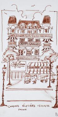 Restaurant along the Champs Elysees, Paris, France by Richard Lawrence