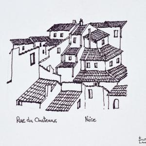 Rooftops of the old city along Rue de Chateaux, Nice, France by Richard Lawrence