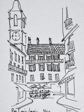 Small town square on Rue Louis Gassin, Old Nice, Nice, France by Richard Lawrence