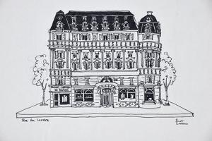 Typical Haussmann architecture on Rue du Louvre, Paris, France by Richard Lawrence