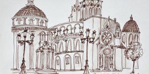 Valencia Cathedral in Plaza de la Virgin, Old town, Valencia, Spain by Richard Lawrence