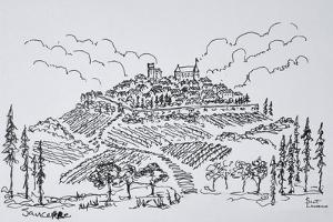 Walled city of Sancerre surrounded by vineyards, Loire valley, France by Richard Lawrence