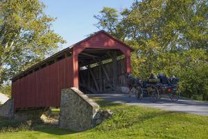 Amish Horse-drawn Buggy, Pool Forge Covered Bridge, built in 1859, Lancaster County, Pennsylvania, by Richard Maschmeyer