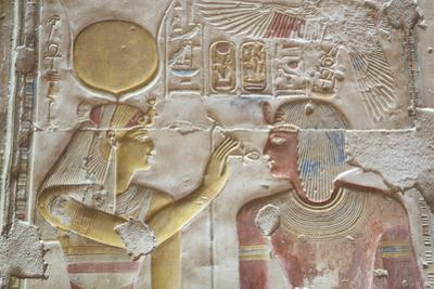 Bas-Relief of Pharaoh Seti I on Right with the Goddess Hathor on Left by Richard Maschmeyer