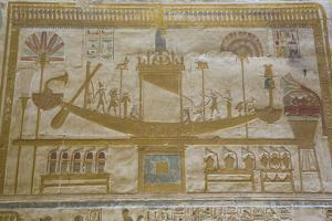 Bas-Relief of Sacred Barque Boat, Temple of Seti I, Abydos, Egypt, North Africa, Africa by Richard Maschmeyer