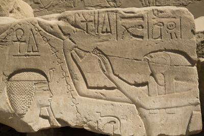 Bas-Relief of Seti I on Left and the God Horus on Right